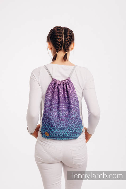 Sackpack made of wrap fabric (100% cotton) - PEACOCK'S TAIL - CLOSER TO THE SUN - standard size 32cmx43cm #babywearing