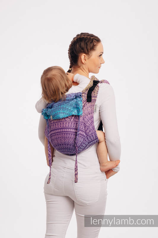 Lenny Buckle Onbuhimo baby carrier, toddler size, jacquard weave (100% cotton) - PEACOCK'S TAIL - CLOSER TO THE SUN #babywearing