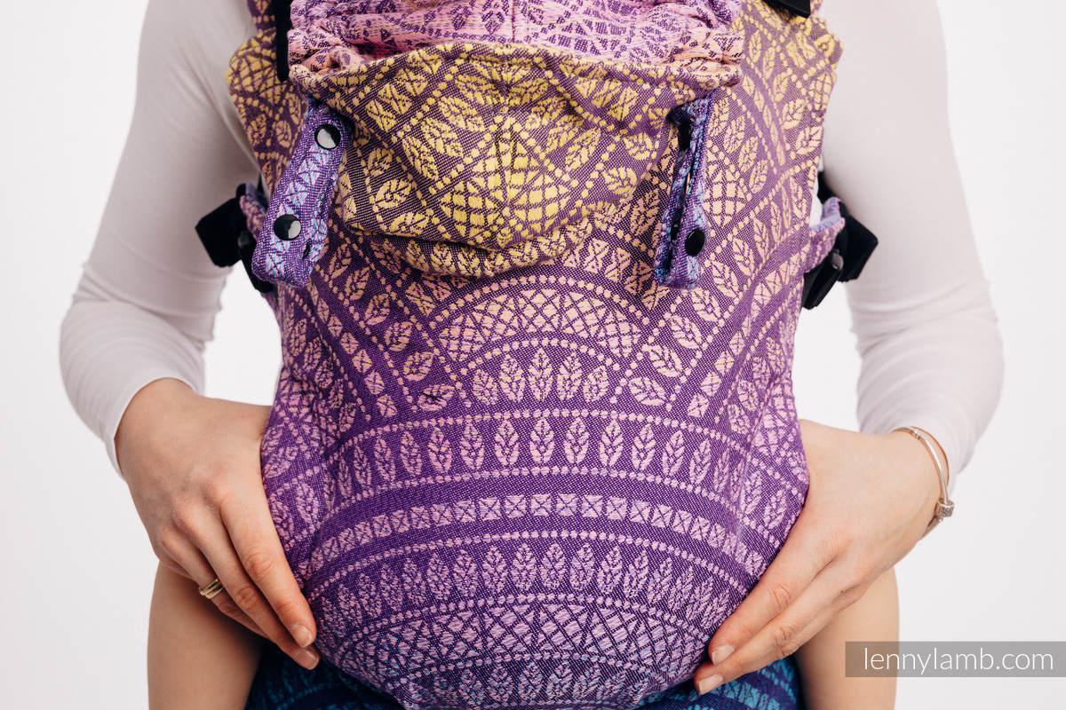 LennyGo Mochila ergonómica, talla bebé, jacquard 100% algodón - PEACOCK'S TAIL - CLOSER TO THE SUN #babywearing