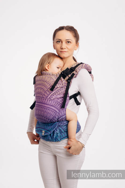 LennyUp Carrier, Standard Size, jacquard weave 100% cotton - PEACOCK'S TAIL - CLOSER TO THE SUN #babywearing