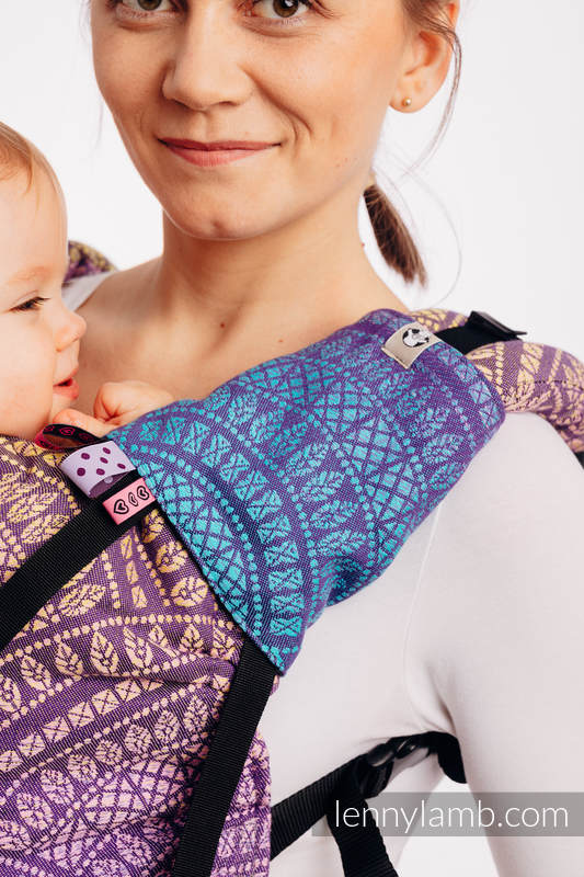 Drool Pads & Reach Straps Set, (60% cotton, 40% polyester) - PEACOCK'S TAIL - CLOSER TO THE SUN #babywearing