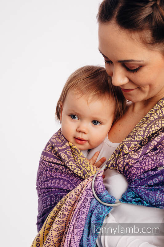 Bandolera de anillas, tejido Jacquard (100% algodón) - PEACOCK'S TAIL - CLOSER TO THE SUN - standard 1.8m #babywearing