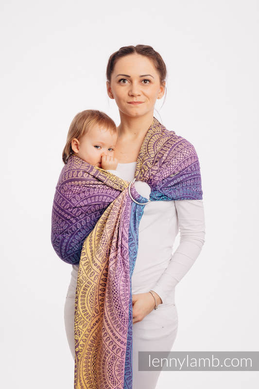 Ringsling, Jacquard Weave (100% cotton) - with gathered shoulder - PEACOCK'S TAIL - CLOSER TO THE SUN - standard 1.8m #babywearing