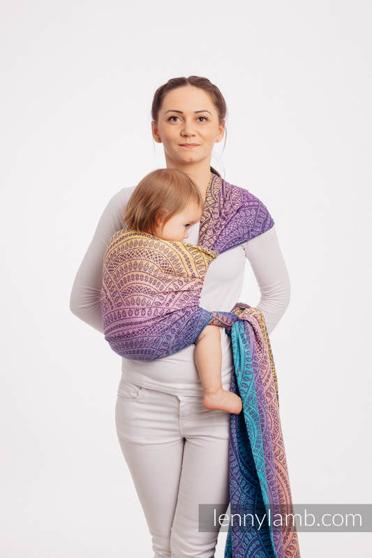 Fular, tejido jacquard (100% algodón) - PEACOCK'S TAIL - CLOSER TO THE SUN  - talla XS #babywearing