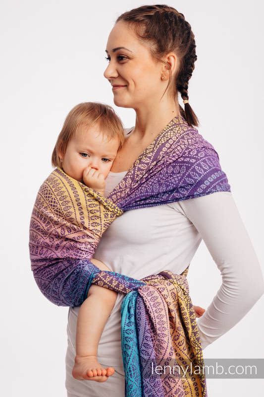 Baby Wrap, Jacquard Weave (100% cotton) - PEACOCK'S TAIL - CLOSER TO THE SUN - size S #babywearing