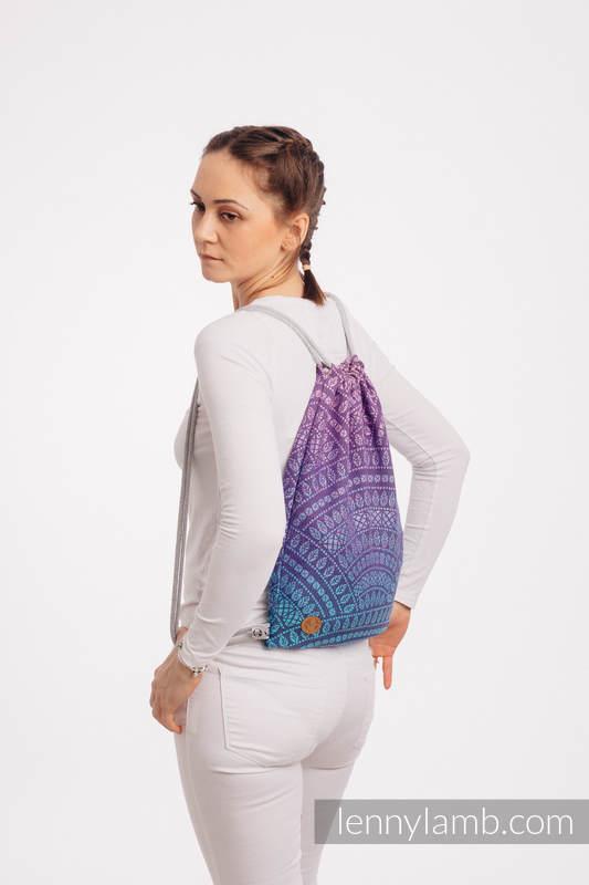 Mochila portaobjetos hecha de tejido de fular (100% algodón) - PEACOCK'S TAIL - CLOSER TO THE SUN - talla estándar 32cmx43cm #babywearing