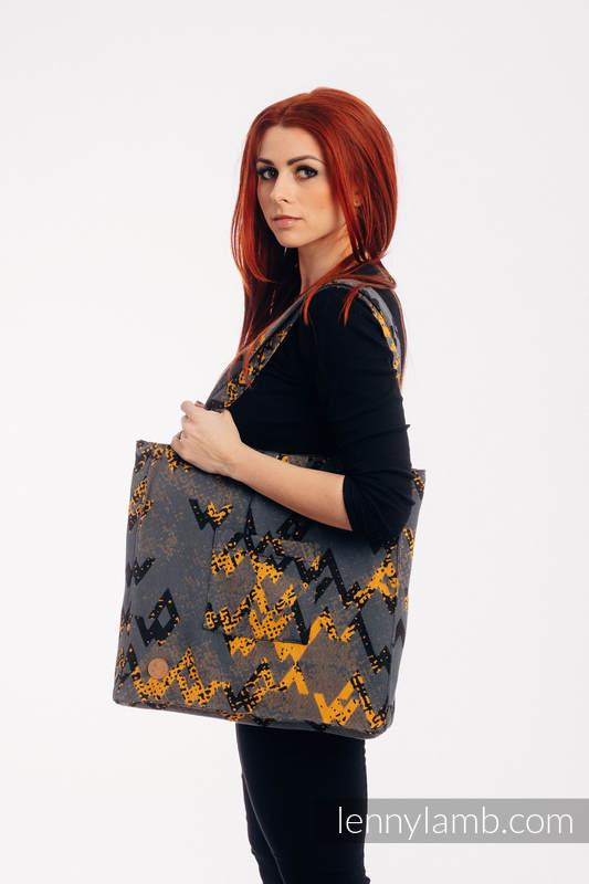 Bolso hecho de tejido de fular (100% algodón) - WAWA - Grey & Mustard - talla estándar 37 cm x 37 cm #babywearing