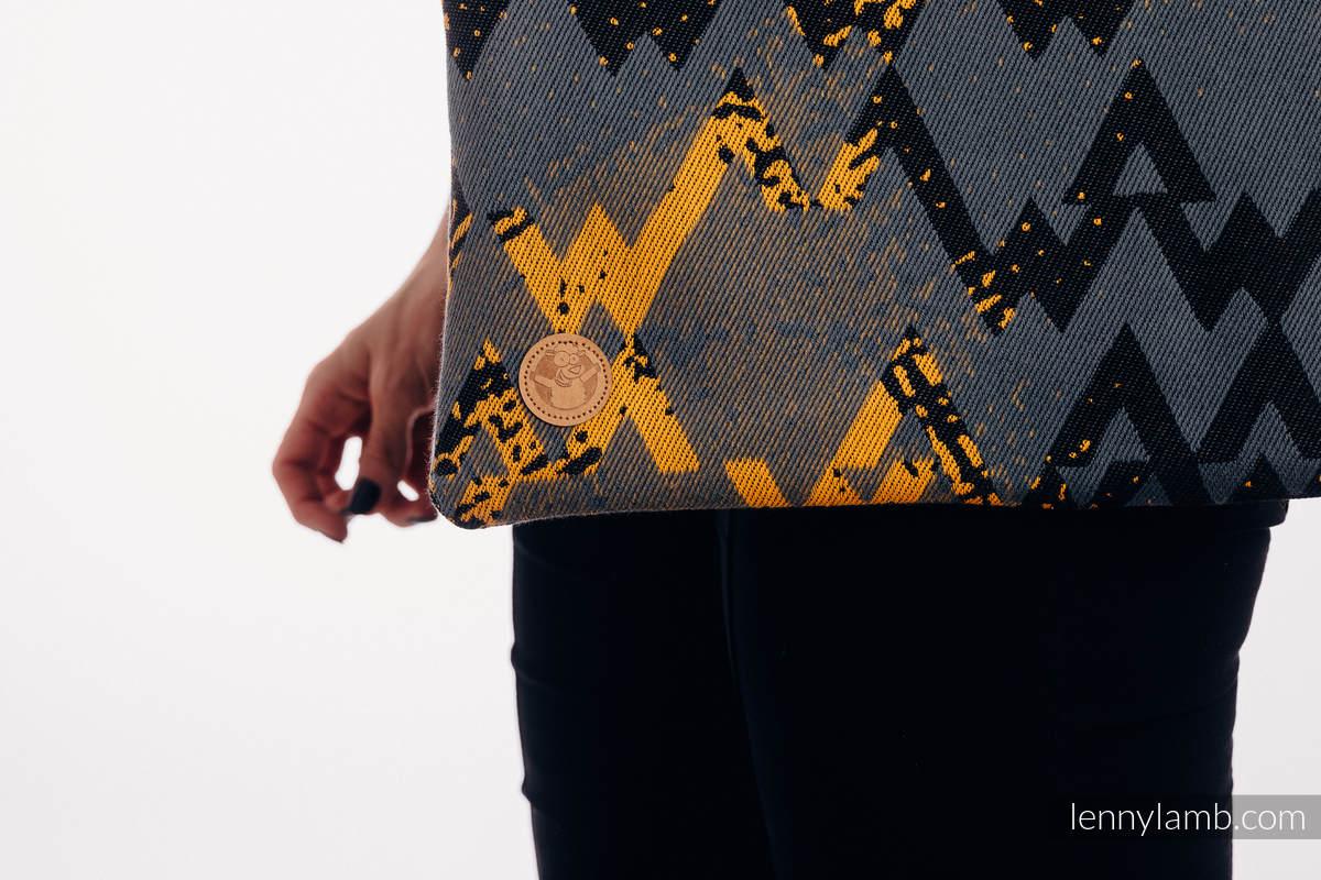 Torba na zakupy z materiału chustowego, (100% bawełna) - WAWA - Szary z Musztardą  #babywearing