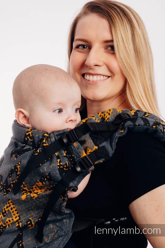 Nosidełko LennyUp z tkaniny żakardowej 100% bawełna , rozmiar standard, WAWA - Szary z Musztardą (drugi gatunek) #babywearing