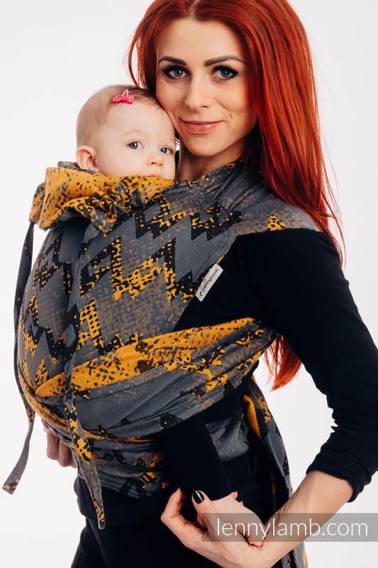 WRAP-TAI portabebé Mini con capucha/ jacquard sarga/100% algodón/ WAWA - Grey & Mustard (grado B) #babywearing