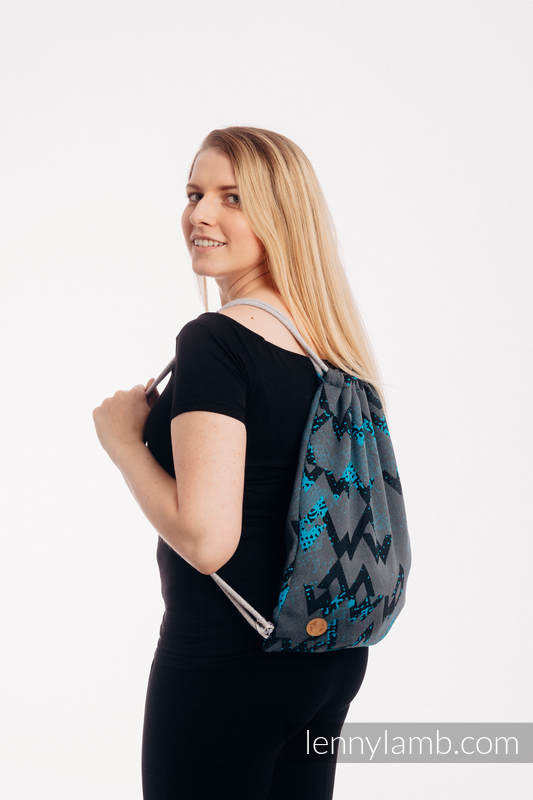Sackpack made of wrap fabric (100% cotton) - WAWA - Grey & Blue- standard size 32cmx43cm #babywearing
