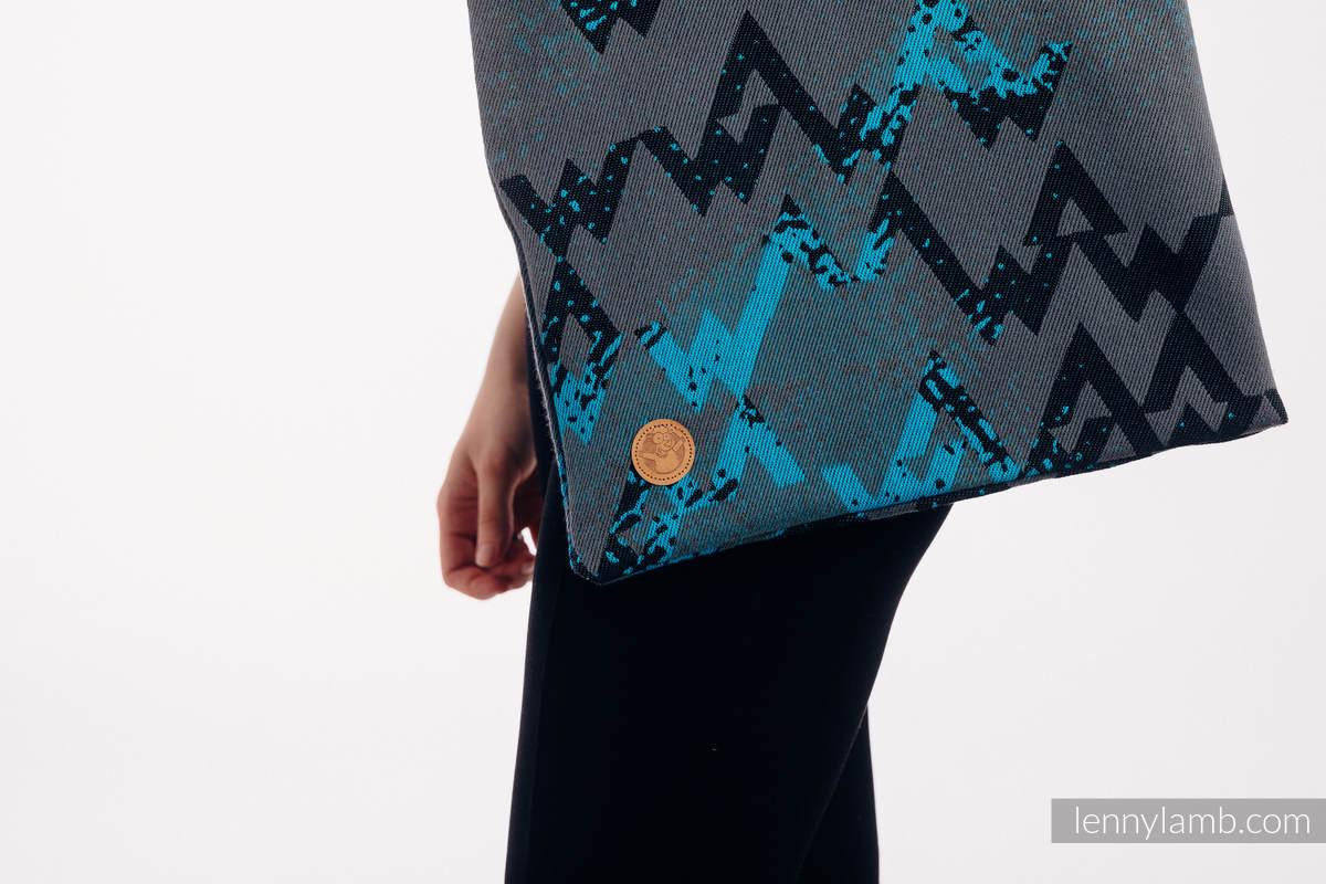 Shopping bag made of wrap fabric (100% cotton) - WAWA - Grey & Blue #babywearing