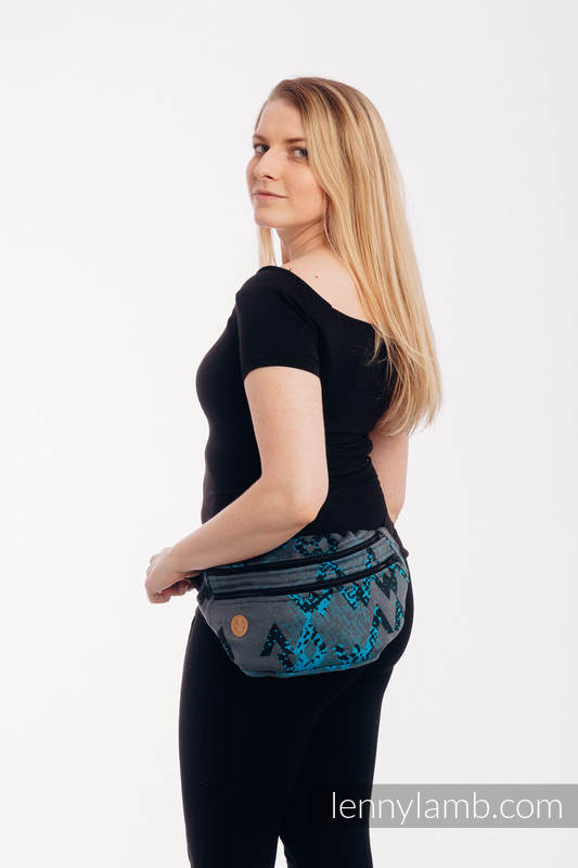 Waist Bag made of woven fabric, size large (100% cotton) - WAWA - Grey & Blue #babywearing