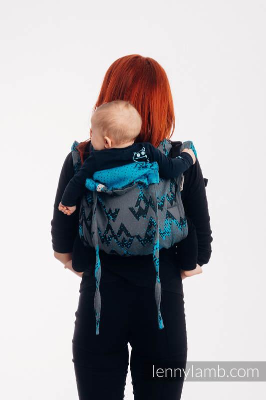 Nosidło Klamrowe ONBUHIMO z tkaniny żakardowej (100% bawełna), rozmiar Toddler - WAWA - Szary z Niebieskim #babywearing