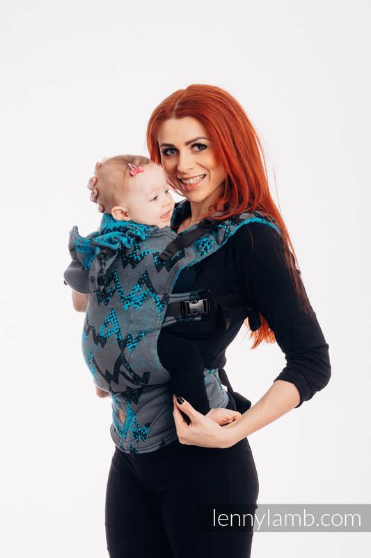 LennyGo Ergonomische Tragehilfe, Größe Baby, Jacquardwebung, 100% Baumwolle - WAWA - Grey & Blue (grad B) #babywearing