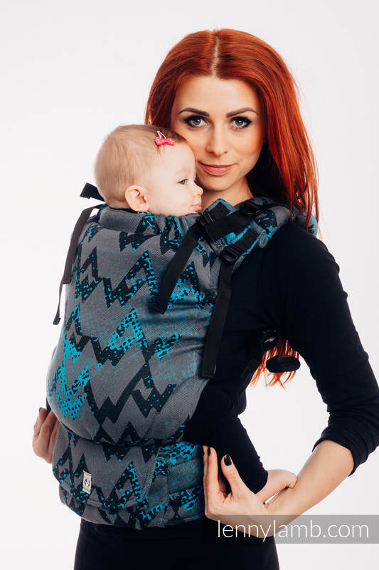 LennyUp Carrier, Standard Size, jacquard weave 100% cotton - WAWA - Grey & Blue (grade B) #babywearing