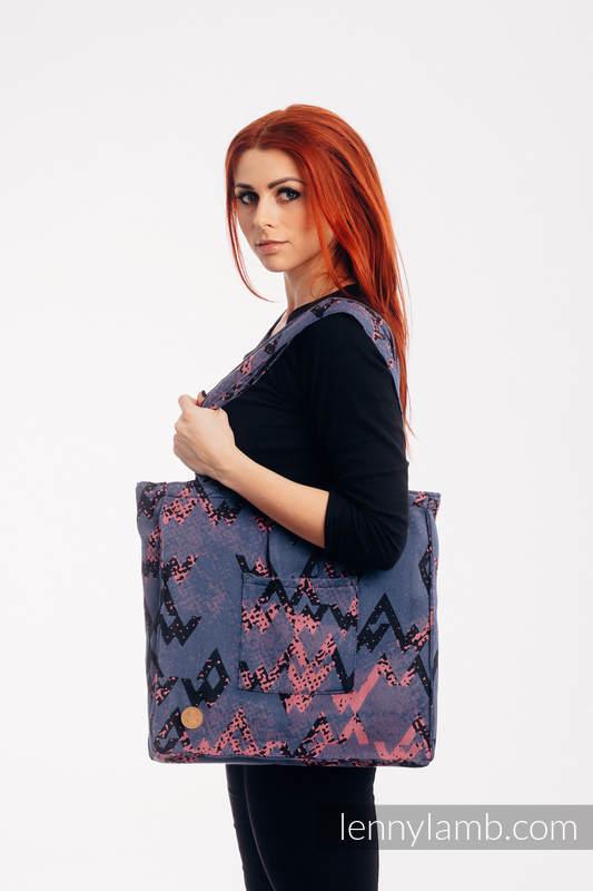 Bolso hecho de tejido de fular (100% algodón) - WAWA - Blue-grey & Pink - talla estándar 37 cm x 37 cm #babywearing