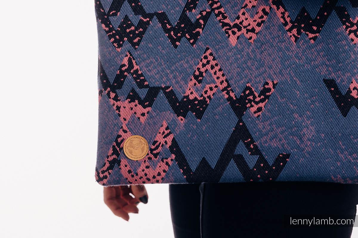 Bolsa de la compra hecho de tejido de fular (100% algodón) - WAWA - Blue-grey & Pink #babywearing