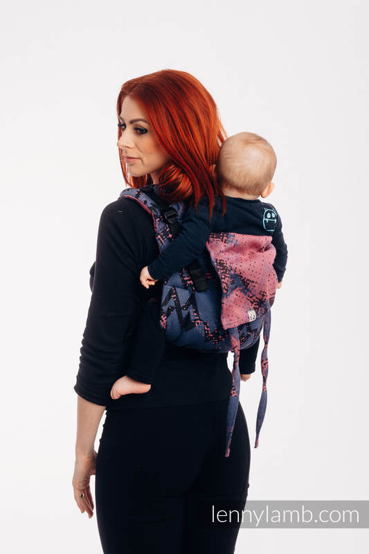 Lenny Buckle Onbuhimo baby carrier, toddler size, jacquard weave (100% cotton) - WAWA - Blue-grey & Pink #babywearing