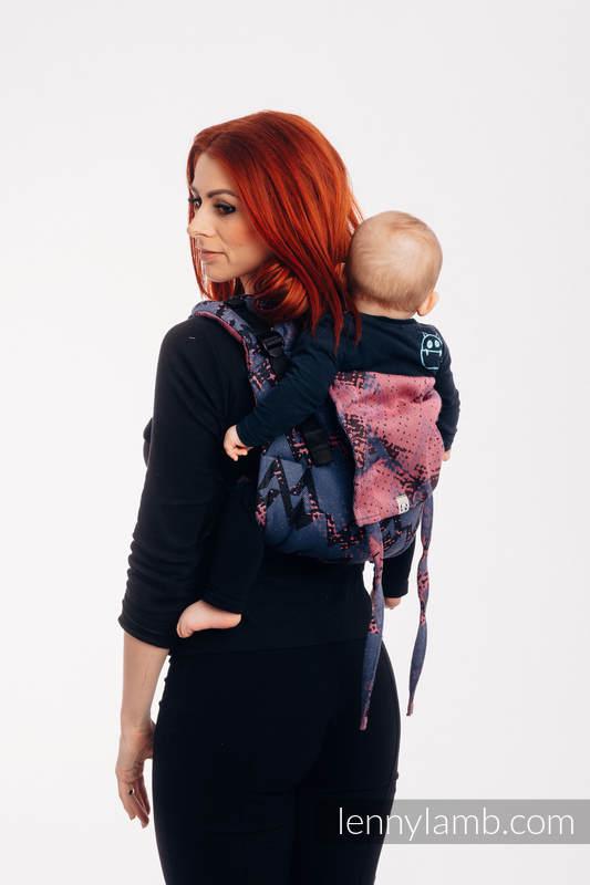 Nosidło Klamrowe ONBUHIMO z tkaniny żakardowej (100% bawełna), rozmiar Toddler - WAWA - Niebiesko-szary z Różem  #babywearing