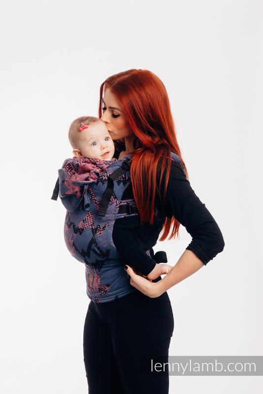 LennyGo Ergonomische Tragehilfe, Größe Baby, Jacquardwebung, 100% Baumwolle - WAWA - Blue-grey & Pink (grad B) #babywearing