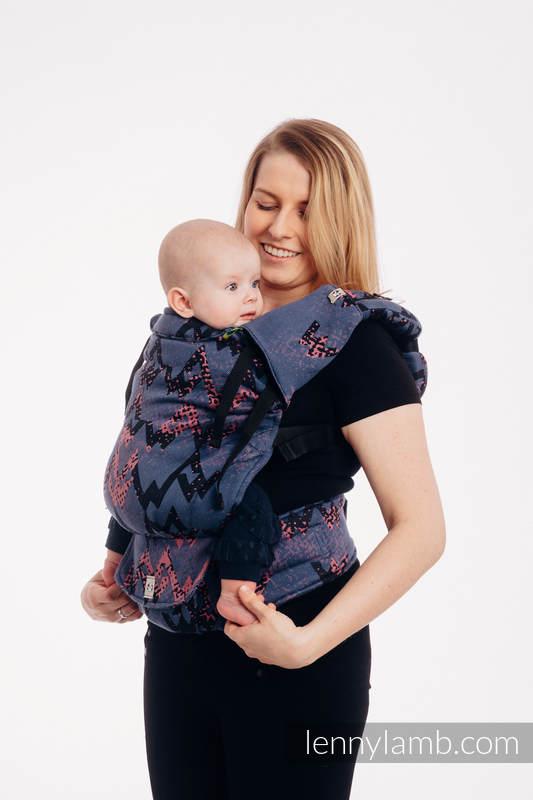 LennyUp Carrier, Standard Size, jacquard weave 100% cotton - WAWA - Grey & Pink #babywearing