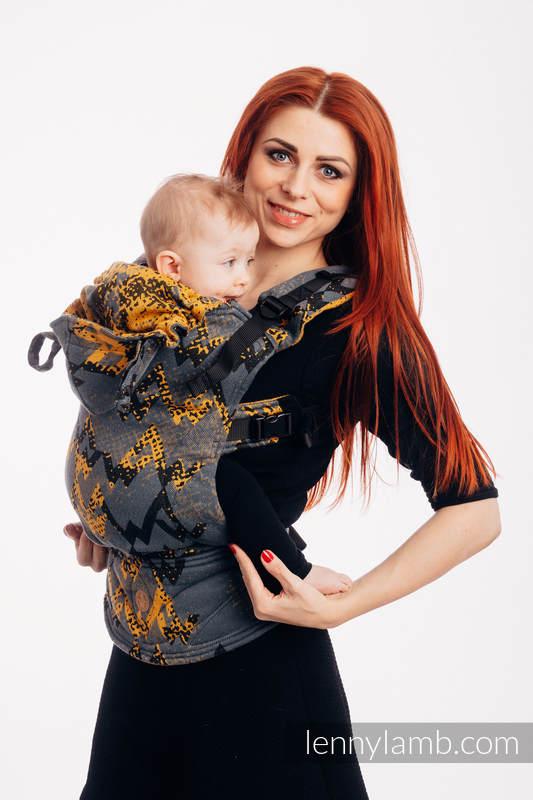 LennyGo Ergonomic Carrier, Toddler Size, jacquard weave 100% cotton - WAWA - Grey & Mustard  (grade B) #babywearing