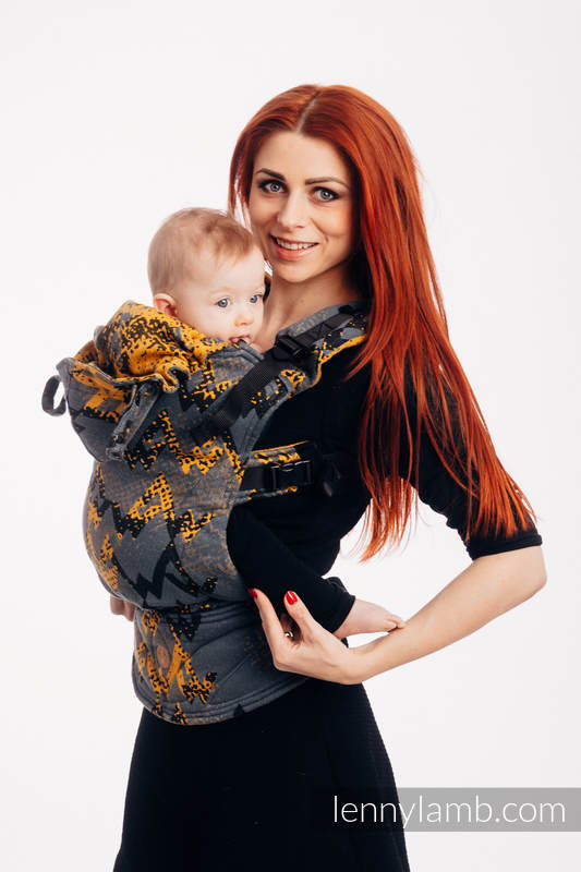 LennyGo Ergonomic Carrier, Baby Size, jacquard weave 100% cotton - WAWA - Grey & Mustard  (grade B) #babywearing
