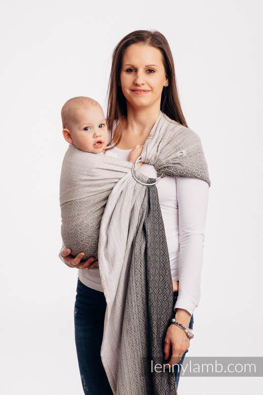 Ringsling, Jacquard Weave (100% cotton) - BIG LOVE - OMBRE BEIGE - long 2.1m #babywearing