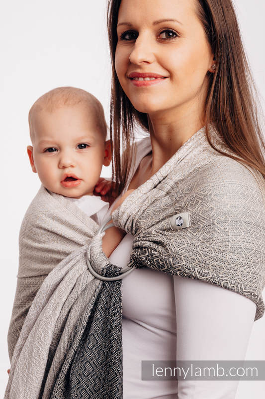 Ringsling, Jacquard Weave (100% cotton) - with gathered shoulder - BIG LOVE - OMBRE BEIGE - long 2.1m #babywearing