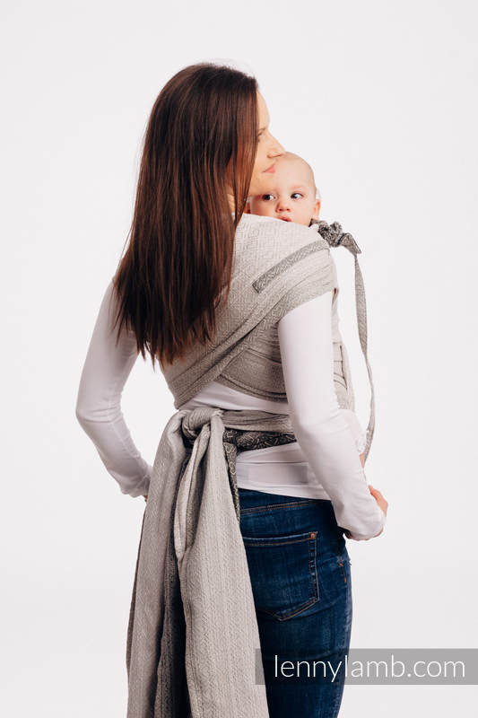 WRAP-TAI carrier Mini with hood/ jacquard twill / 100% cotton - BIG LOVE - OMBRE BEIGE #babywearing