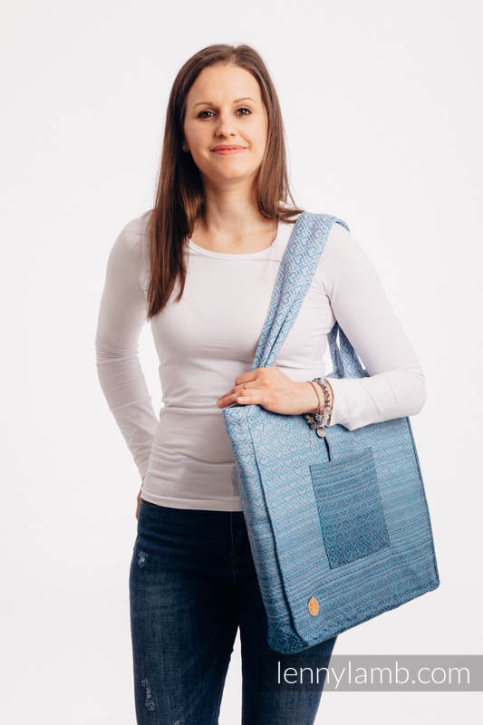 Shoulder bag made of wrap fabric (100% cotton) - BIG LOVE - OMBRE LIGHT BLUE - standard size 37cmx37cm #babywearing