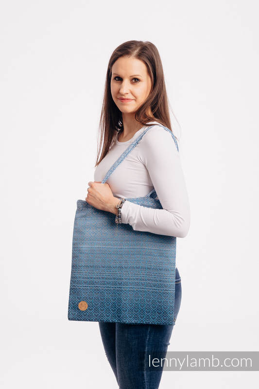Shopping bag made of wrap fabric (100% cotton) - BIG LOVE - OMBRE LIGHT BLUE #babywearing
