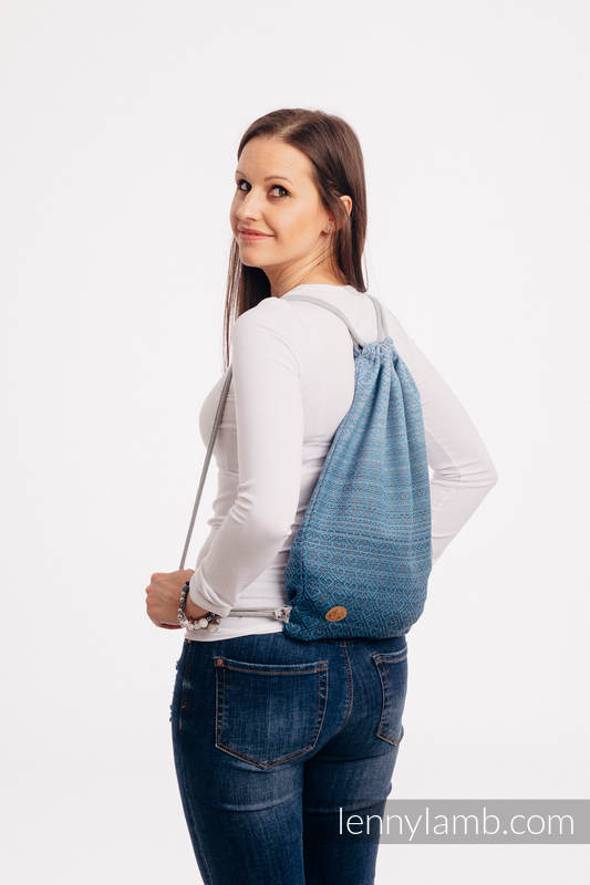 Sackpack made of wrap fabric (100% cotton) - BIG LOVE - OMBRE LIGHT BLUE - standard size 32cmx43cm #babywearing