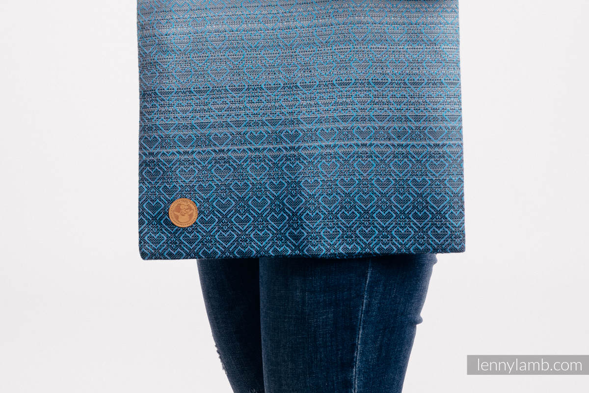 Torba na zakupy z materiału chustowego, (100% bawełna) - BIG LOVE - OMBRE BŁĘKIT #babywearing