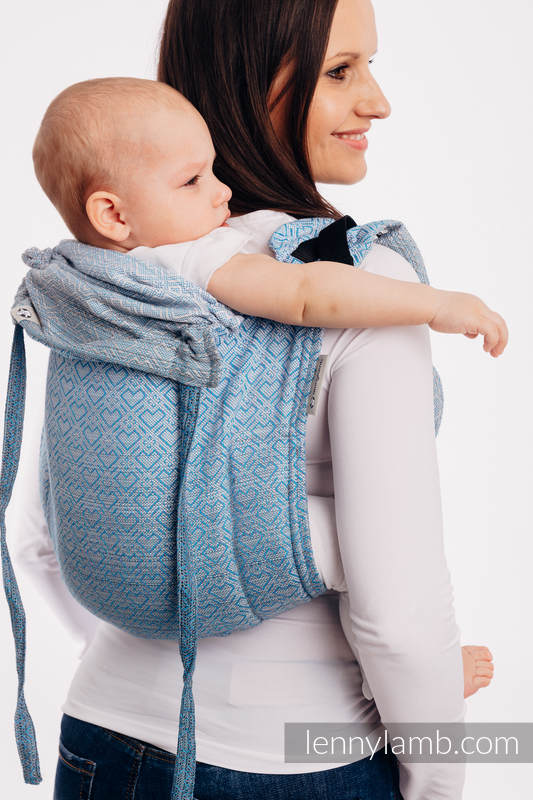 Lenny Buckle Onbuhimo, standard size, jacquard weave (100% cotton) - Wrap conversion from BIG LOVE - OMBRE LIGHT BLUE #babywearing