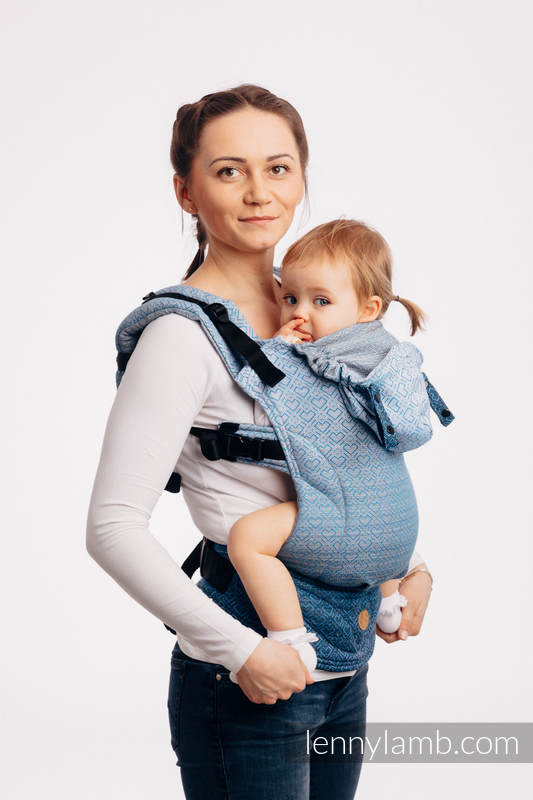 LennyGo Ergonomic Carrier, Baby Size, jacquard weave 100% cotton - BIG LOVE - OMBRE LIGHT BLUE #babywearing