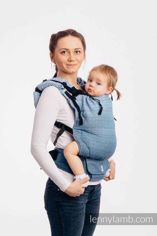 LennyUp Carrier, Standard Size, jacquard weave 100% cotton - BIG LOVE - OMBRE LIGHT BLUE #babywearing