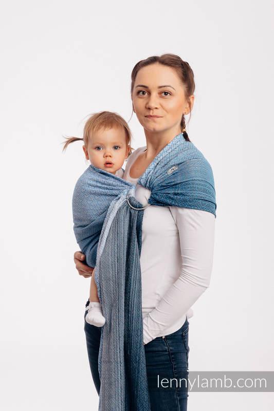 Żakardowa chusta kółkowa do noszenia dzieci, bawełna, ramię bez zakładek - BIG LOVE - OMBRE BŁĘKIT - standard 1.8m #babywearing