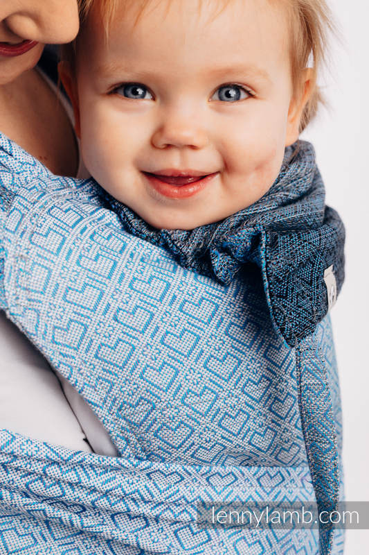 WRAP-TAI carrier Toddler with hood/ jacquard twill / 100% cotton - BIG LOVE - OMBRE LIGHT BLUE #babywearing