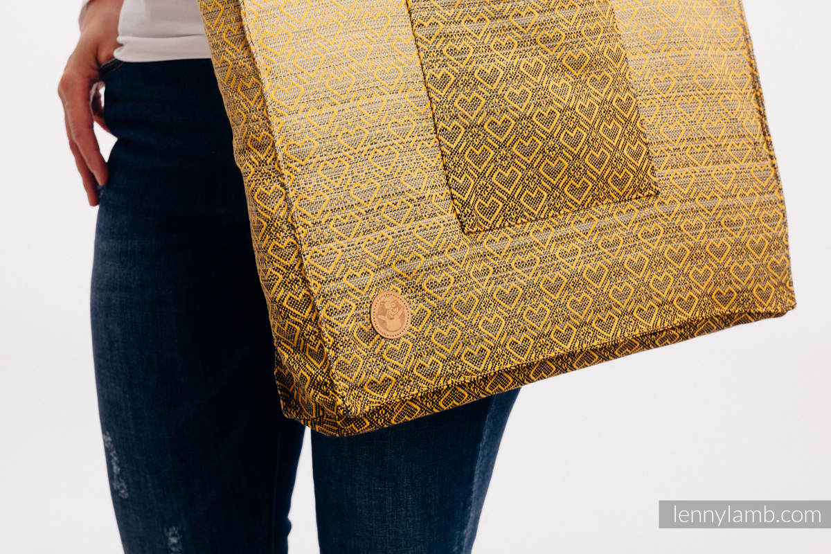 Shoulder bag made of wrap fabric (100% cotton) - BIG LOVE - OMBRE YELLOW - standard size 37cmx37cm #babywearing