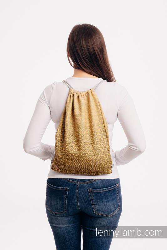 Mochila portaobjetos hecha de tejido de fular (100% algodón) - BIG LOVE - OMBRE YELLOW - talla estándar 32cmx43cm #babywearing