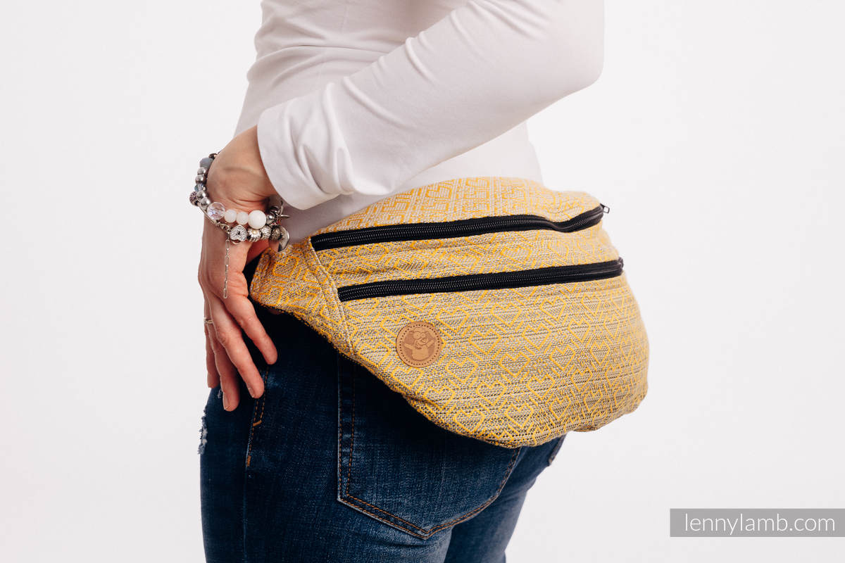 Waist Bag made of woven fabric, size large (100% cotton) - BIG LOVE - OMBRE YELLOW #babywearing