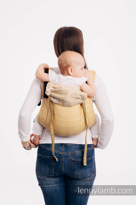 Lenny Buckle Onbuhimo baby carrier, standard size, jacquard weave (100% cotton) - BIG LOVE - OMBRE YELLOW #babywearing