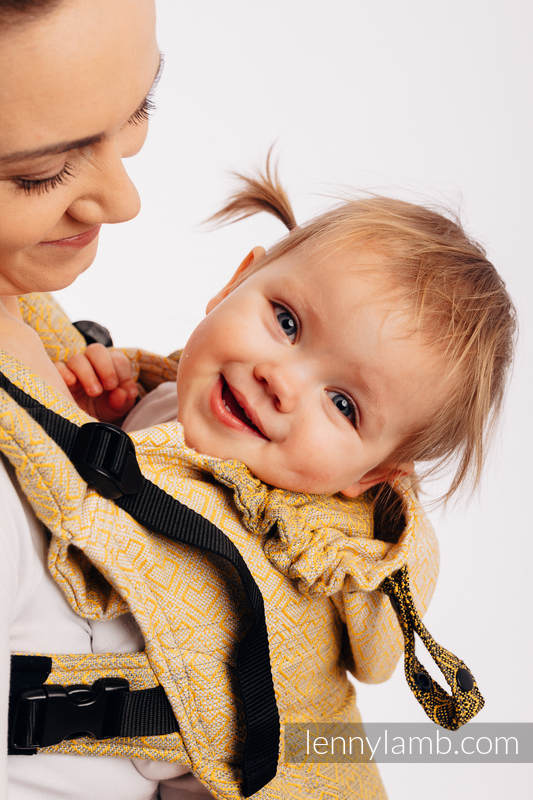Mochila ergonómica LennyGo, talla bebé, jacquard 100% algodón - BIG LOVE - OMBRE YELLOW #babywearing