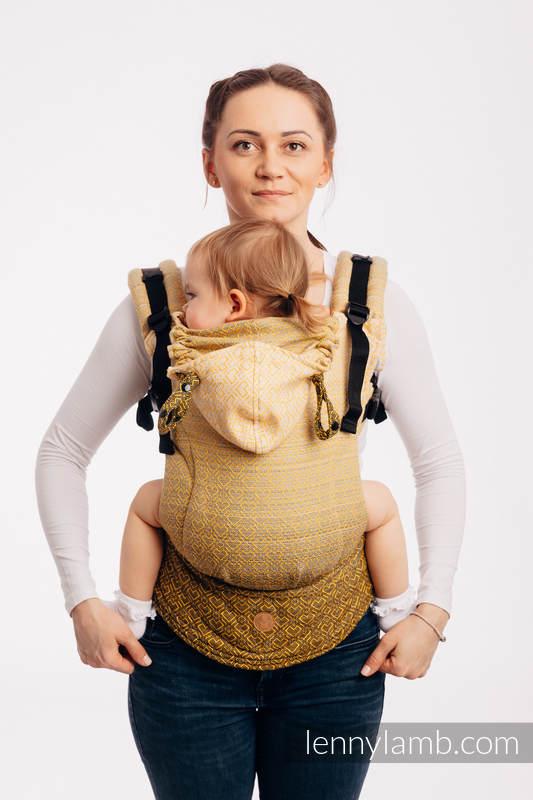 Mochila ergonómica LennyGo, talla bebé, jacquard 100% algodón - a partir de fular BIG LOVE - OMBRE YELLOW #babywearing