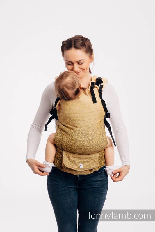 Mochila LennyUp, talla estándar, tejido jaquard 100% algodón - conversión de fular BIG LOVE - OMBRE YELLOW #babywearing