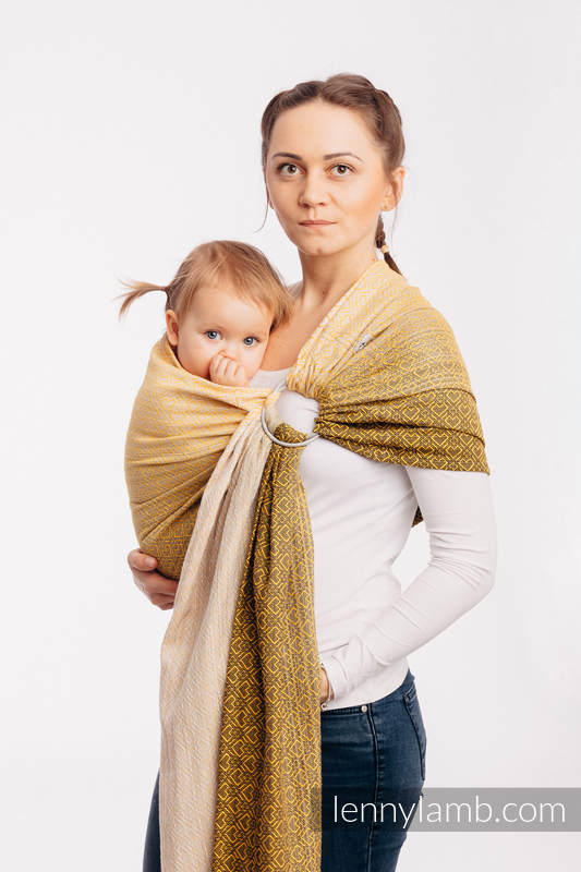 Ringsling, Jacquard Weave (100% cotton) - BIG LOVE - OMBRE YELLOW - long 2.1m #babywearing