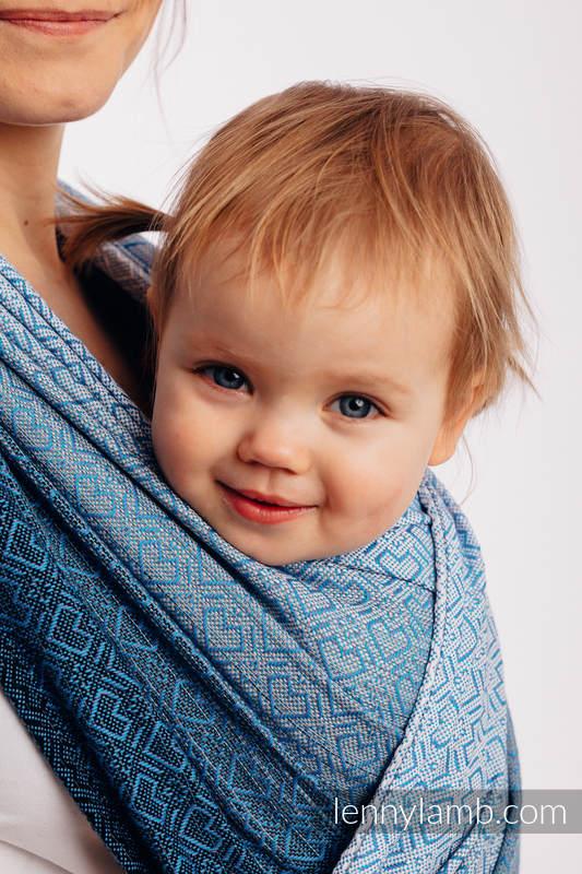 Baby Wrap, Jacquard Weave (100% cotton) - BIG LOVE - OMBRE LIGHT BLUE - size XS #babywearing