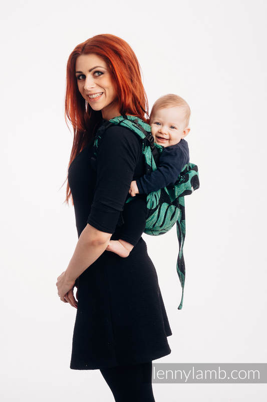 Lenny Buckle Onbuhimo baby carrier, standard size, jacquard weave (78% cotton 22% silk) - MONSTERA - URBAN JUNGLE #babywearing